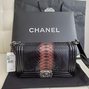 CHANEL Bags - Authentic Chanel Python Medium Boy bag